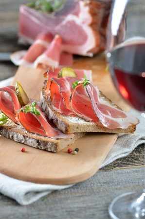 South Tyrolean smoked bacon on farmhouse bread photo