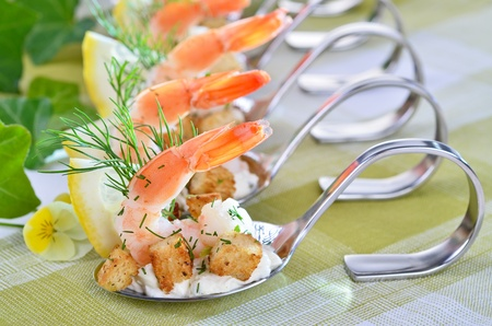 Appetizers with king prawns