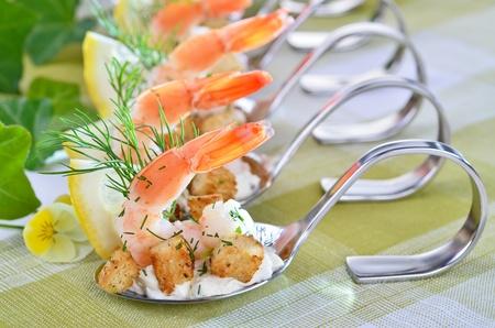 Appetizers with king prawns Reklamní fotografie - 11870515