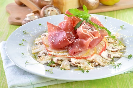 Tasty mushroom carpaccio