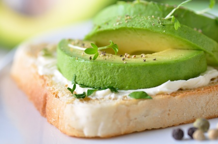 Toast with cream cheese and avocado Stock Photo - 12072400