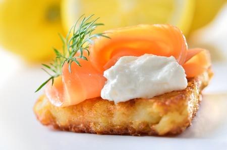 thaler: Potato patty with salmon Stock Photo