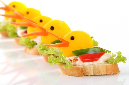Baguette with cream cheese and bell peppers photo