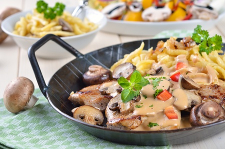 swabian: Escalope of pork with champignons and sauce