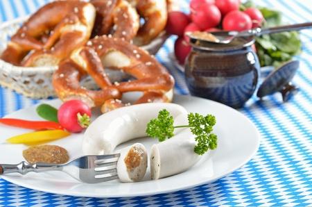 weisswurst: Bavarian white sausages