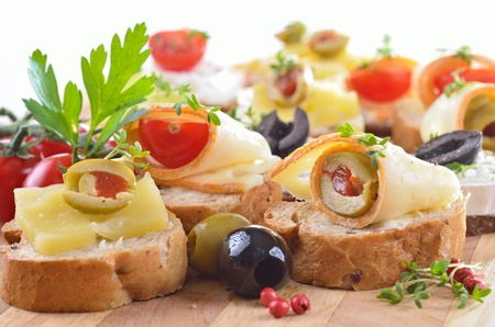 Baguette with choice of cheeses photo
