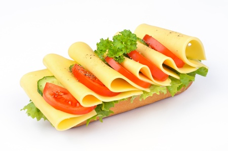 Baguette with cheese, tomato, cucumber and salad