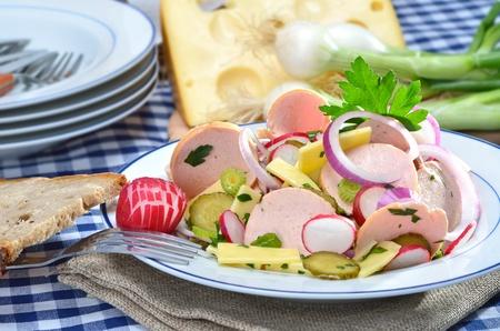 salad buffet: Fresh Bavarian sausage salad  Stock Photo