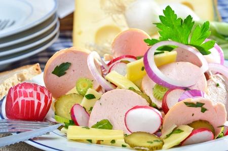biergarten: Fresh Bavarian sausage salad  Stock Photo