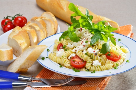 Pasta salad with shrimps and mozzarella photo