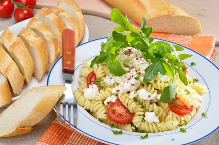 pasta salad: Pasta salad with ricotta cheese and rucola