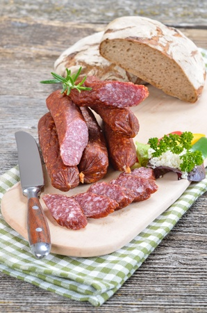 Typical South tyrolean smoked sausages  Reklamní fotografie