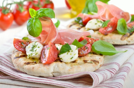 Pita bread with salad and ham Stock Photo