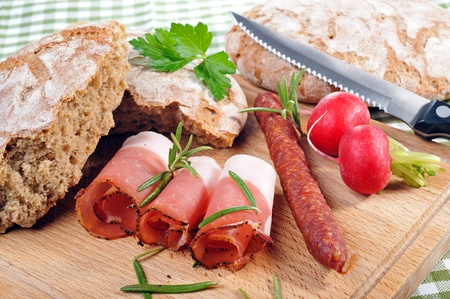 Snack with bacon and sausage photo