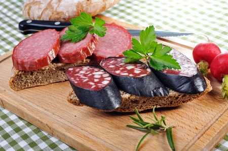 Snack bread with smoked sausages Stock Photo - 13090556