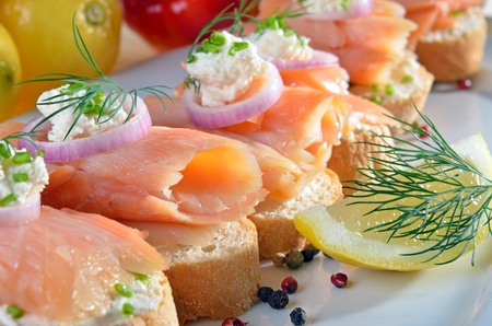 Finger food with salmon