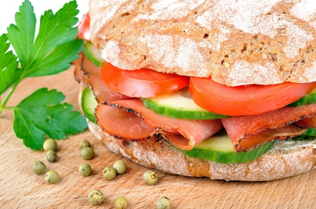 Tyrolean rye bread with smoked bacon Stock Photo - 13090559