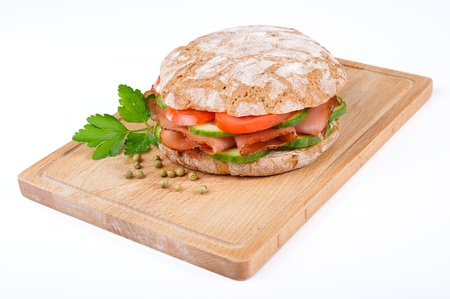 Tyrolean rye bread with smoked bacon photo