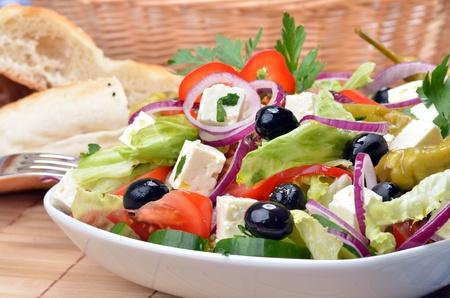 low calories: Delicious greek salad with sheep s milk cheese
