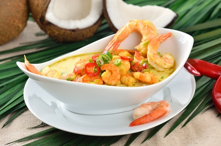 Hot shrimps soup with coconut milk Stock Photo - 13090576