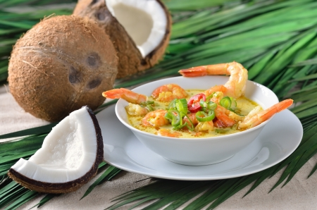 tiger shrimp: Hot shrimps soup with coconut milk