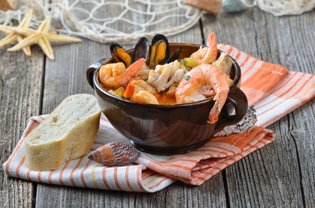 Delicious fish soup photo