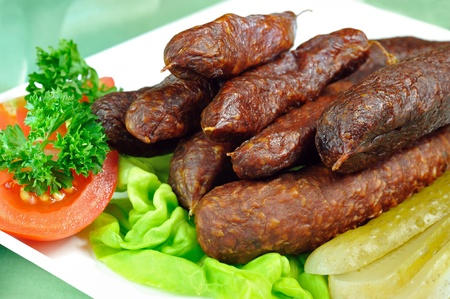 blubber: Tyrolean smoked sausages Stock Photo