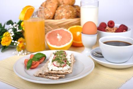 plato del buen comer: Desayuno ligero Foto de archivo