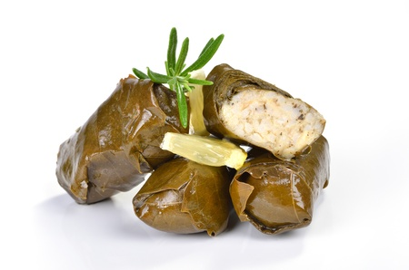 Stuffed greek wine leaves  Stock Photo