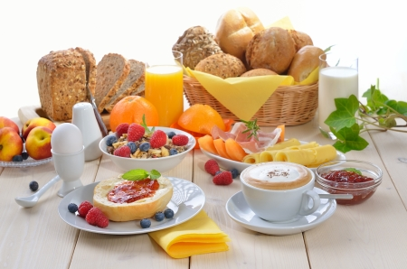 wholemeal: Colorful breakfast with cappuccino Stock Photo