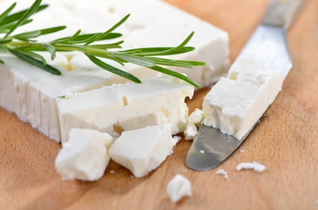 cheese knife: Typical Greek feta cheese made of goat milk Stock Photo