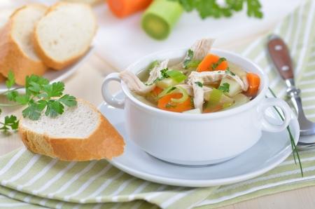 Delicious homemade chicken soup Reklamní fotografie - 14062652