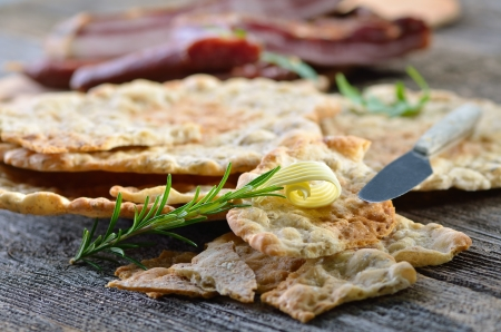 South Tyrolean bread specialty, so-called  Schuettelbrot , a very crispy and dry rye flatbread Stock Photo