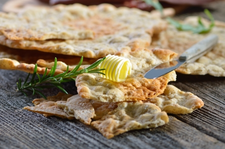 South Tyrolean bread specialty, so-called  Schuettelbrot , a very crispy and dry rye flatbread Reklamní fotografie