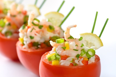 cold meal: Stuffed tomatoes with shrimps and rice Stock Photo