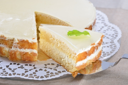 afternoon fancy cake: Fancy cake with yogurt and cream cheese Stock Photo