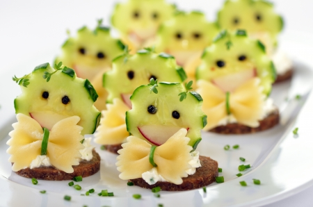 finger food: Funny cheese morsels Stock Photo