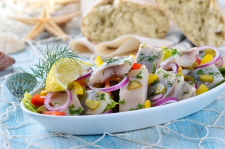 Salad of salted fillets of white herring
