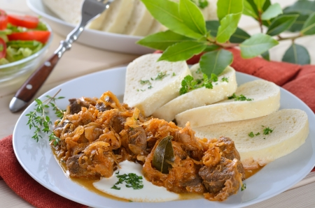 Hungarian goulash with pickled white cabbage  sauerkraut