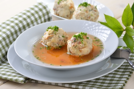 Delicious Bavarian bacon dumpling soup