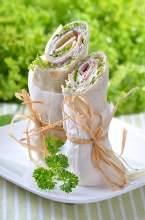 corded: Wraps with ham, cheese, sour cream and salad Stock Photo