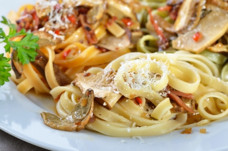 catering service: Tagliatelle with boletus and bacon sauce with wine