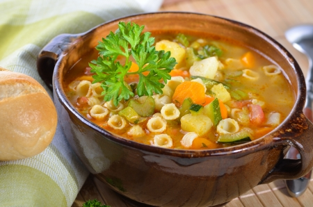 stew: Fresh vegetable soup with noodles