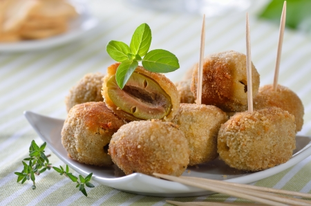 antipasti: Breaded and baked green olives - a Spanish appetizer