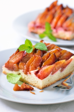 Homemade plum pie with mint leaves Stock Photo - 15398971