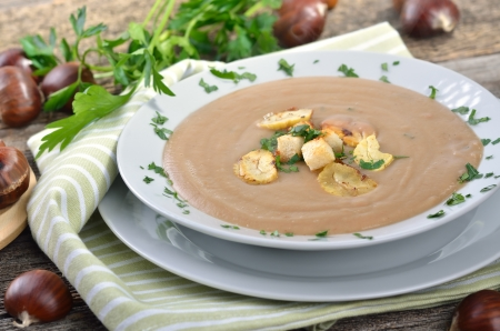 Fresh chestnut soup Reklamní fotografie