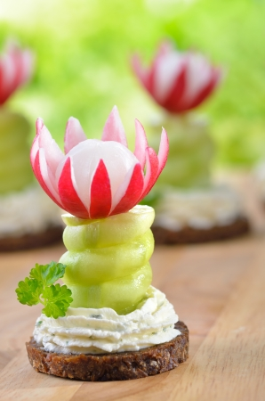 Appetizers with cream cheese, cucumber and radishes on pumpernickel Stock Photo