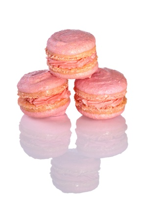Macarons on glossy white background Stock Photo - 17696320