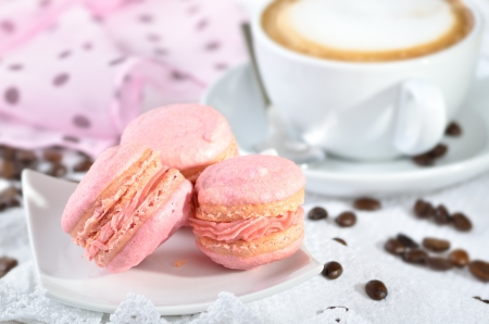 Fine pink macaroons with a cup of cappuccino Stock Photo - 17696325