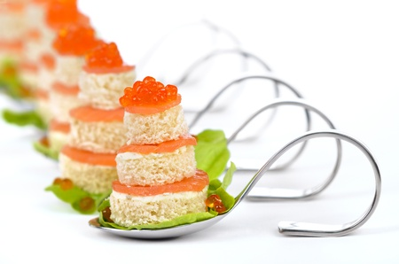 starter: Fish appetizers with salmon and caviar Stock Photo